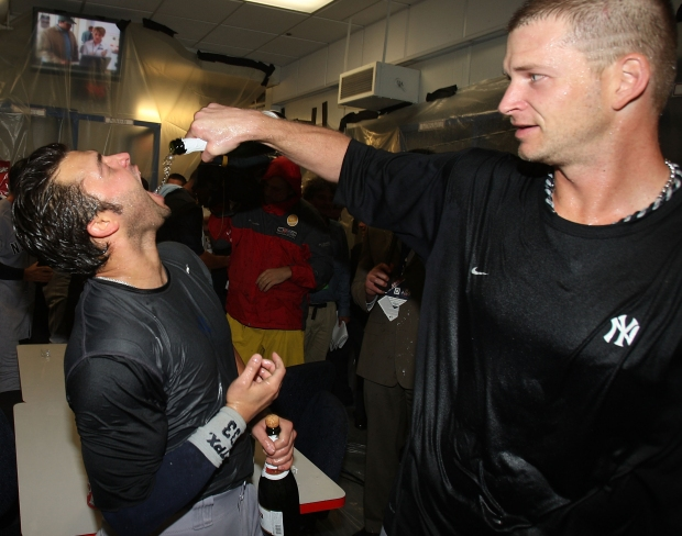 Locker Room Photos: Yankees Celebrate ALDS Sweep