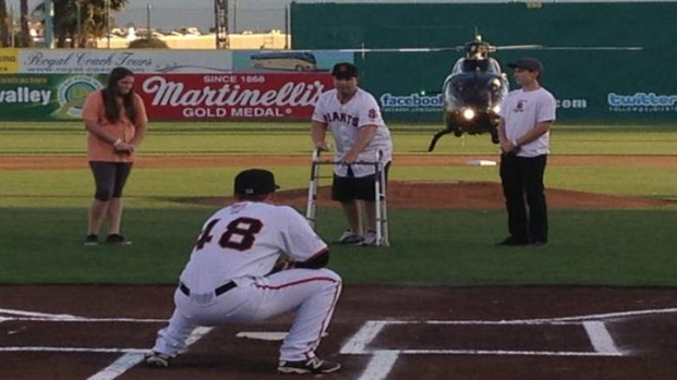 [BAY] Bryan Stow Throws First Pitch at Giants Home Opener