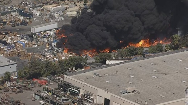 Firefighters Contain 2-Alarm Fire at Newark Recycling Center