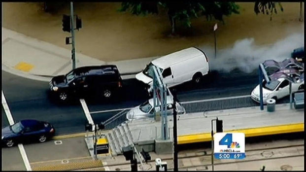 [LA] Dangerous Pursuit Ends When Driver Runs From Van, Slips on Wet Sidewalk