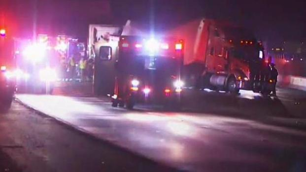 One Killed in Collision Involving Two Big Rigs and Car on I-580 Near