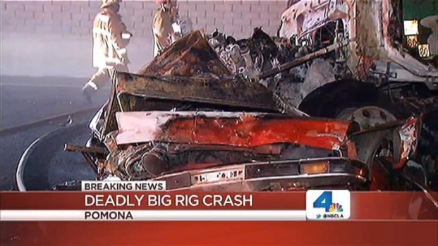 [LA] Fiery Big-Rig Pileup Crash Kills at Least 1, Injures Several