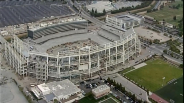 [BAY] Raw Video: Aerial View of Levi's Stadium After Elevator Worker Dies