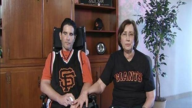 [BAY] Raw Video: Bryan Stow Hands the First Pitch