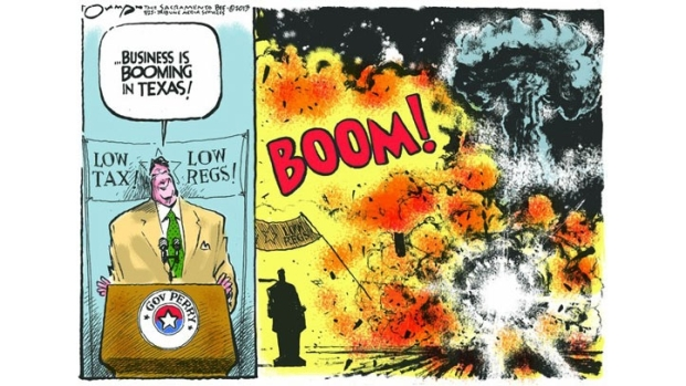 [DFW] Gov. Perry Disgusted by Cartoon Depicting Explosion