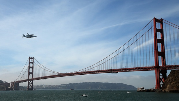Shuttle Endeavour Flys Over Golden Gate Bridge