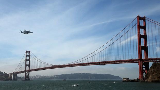 Shuttle Endeavour Flys Over Golden Gate Bridge