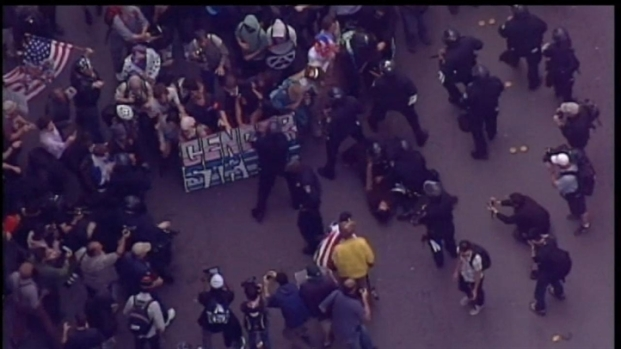 [BAY] Raw Video: Protesters, Police Clash in Oakland