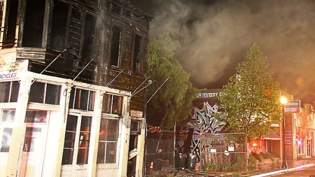 Fire Rips Through Faber's Cyclery Historic Building
