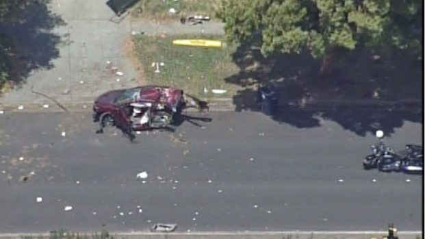 [BAY] RAW VIDEO: Fremont Crash Kills Toddler, Splits Car in Half