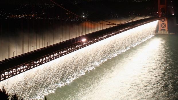 [BAY] Fireworks Cascade Off Golden Gate Bridge