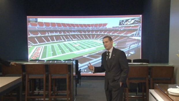 [BAY] Raw Video: 49ers Walk Through Stadium Suite of the Future