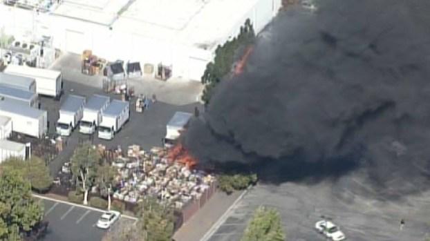 Fire Burns Outside Donation Center