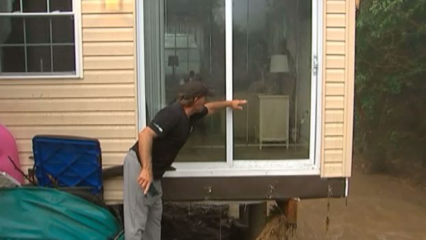 Pennsylvania Flood Leaves House Teetering, Family Stuck