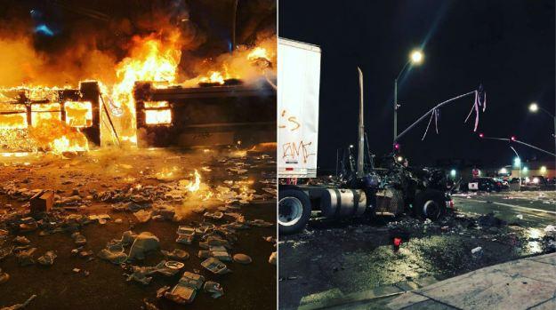 [BAY] Semi-Truck, Bus Burn at Scene of Oakland Sideshow