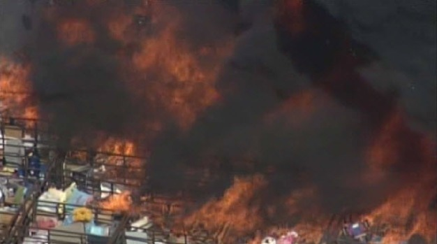 [BAY] Fire Burns Outside Non-Profit Donation Center
