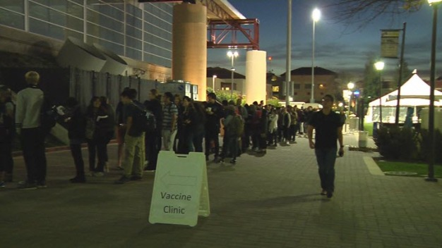 Santa Clara University Students Line Up for Meningicoccal Vaccine