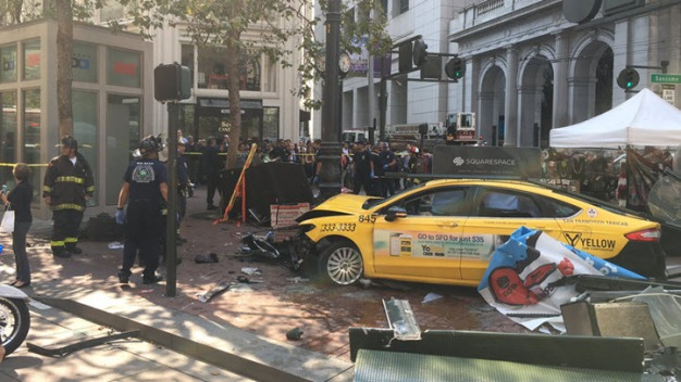 Three Critically Injured in SF as Taxicab Crashes Onto Sidewalk: SFFD