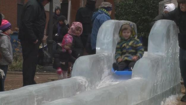 Kids Slid Down 40-Foot Ice Slide in Pennsylvania