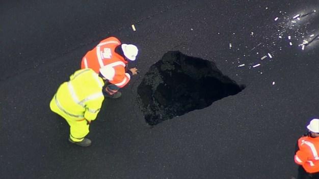 A Sinkhole Named 'Steve:' CHP Names Big Hole on Highway 13