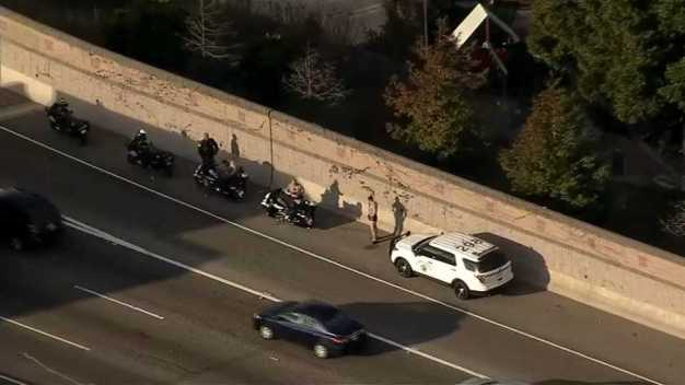 Driver Side Swipes, Hurts CHP Officer on Motorcycle on I-80