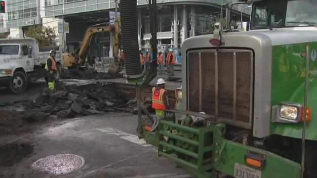 Water Main Break Snarls Traffic in SoMa