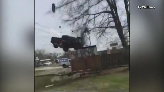 Truck Goes Airborne During Police Chase