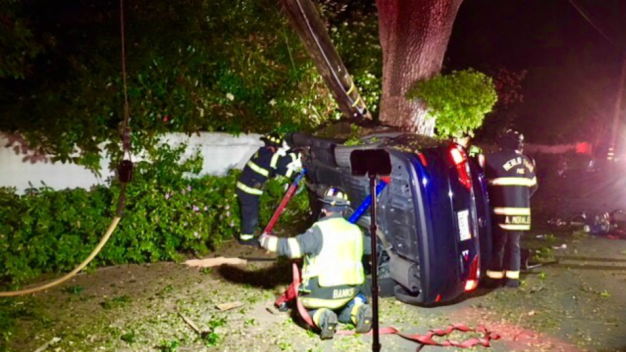 Crews in Atherton Rescue 2 in Car With Live Wires on Hood
