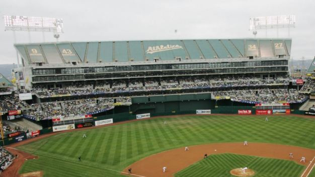 Tarps Coming Off Mount Davis for A's-Giants Contest