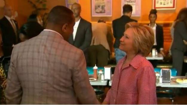 Clinton Talks at Oakland's Chicken and Waffles