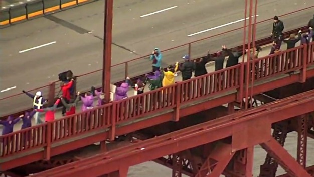 Droves of People Across Golden Gate Bridge Hold Hands