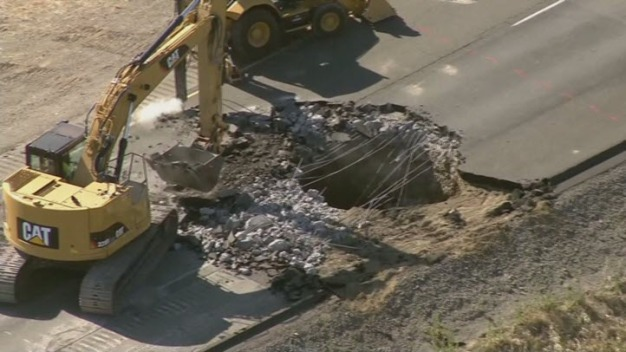 Sinkhole Opens on Interstate 5 Near Tracy; Northbound Lanes Shut Down