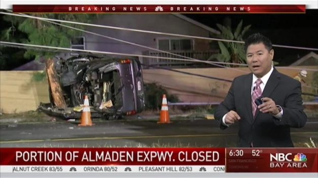 Driver Slams Into Power Pole off San Jose's Almaden Expressway
