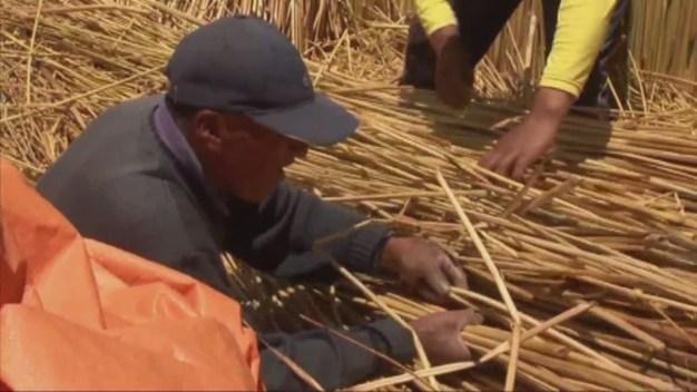 A Reed Boat Built By Bolivian Aymara