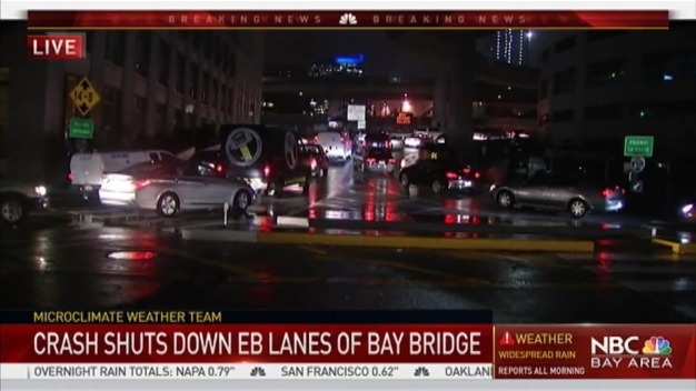 Slow Down! Fuel Leak on Bay Bridge After Big Rig Crash, Accidents Abound
