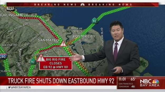 Big Rig Fire Closes Connector to EB San Mateo Bridge