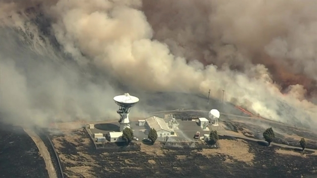 RAW VIDEO: Firefighters Battle Brush Fire at Camp Parks