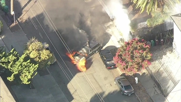 RAW: Truck Bursts Into Flames on Residential Street in Oakland