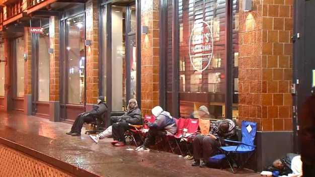 Line Forms in SF for Air Jordan Shoe With Levi's Twist