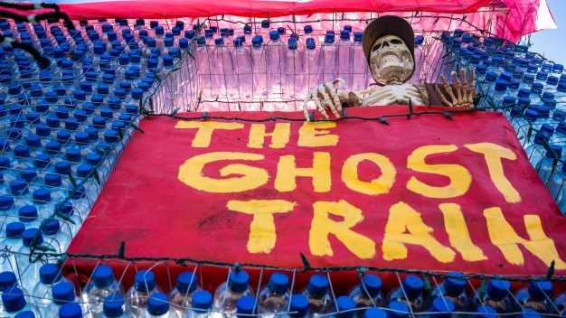 All Aboard! Plastic Bottle Ghost Train Arrives in East Bay