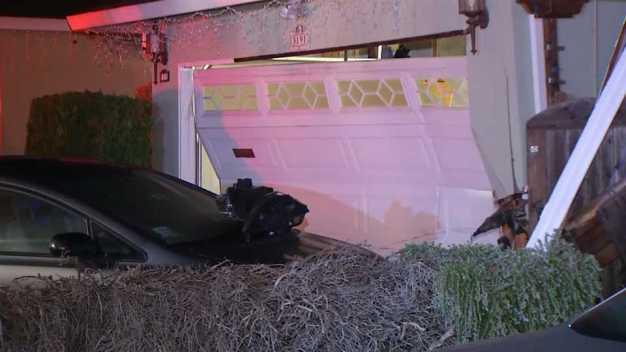 Car Slams Into Fremont Home's Garage