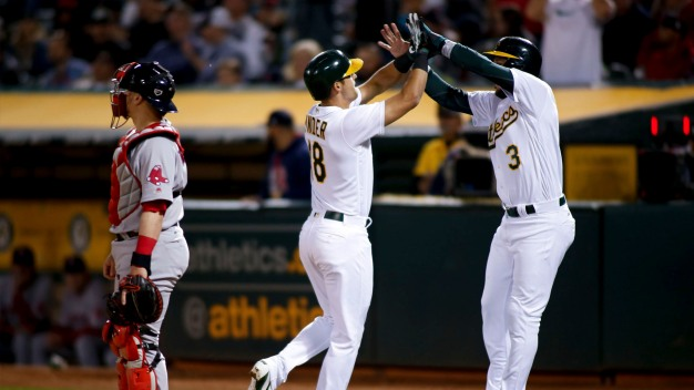 Gray Strikes Out Eight, A's Go Deep to Take Down Red Sox