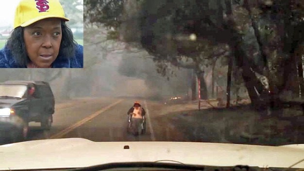 Woman in Wheelchair Crawls Out of Home to Escape Camp Fire