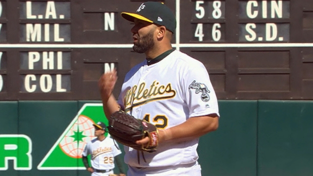 Kendrys Morales Pitches Vs. Blue Jays One Year After Pitching Vs. A's