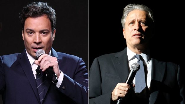 Stewart, Fallon Slice de Blasio Over Pizza