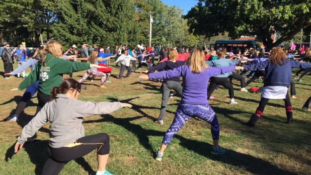 Women Defend Wearing Yoga Pants in Peaceful Parade