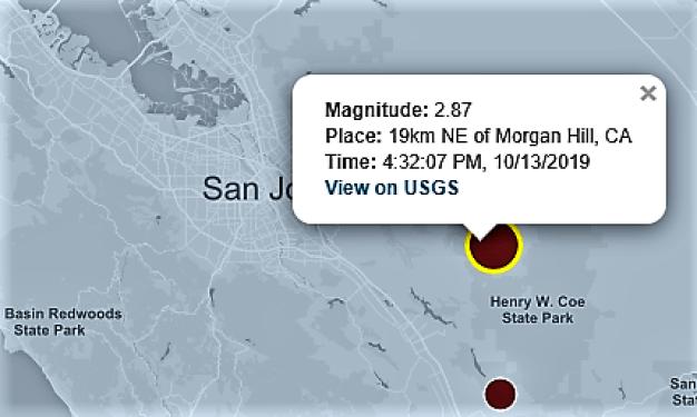 Two Small Earthquakes Strike Southeast of San Jose