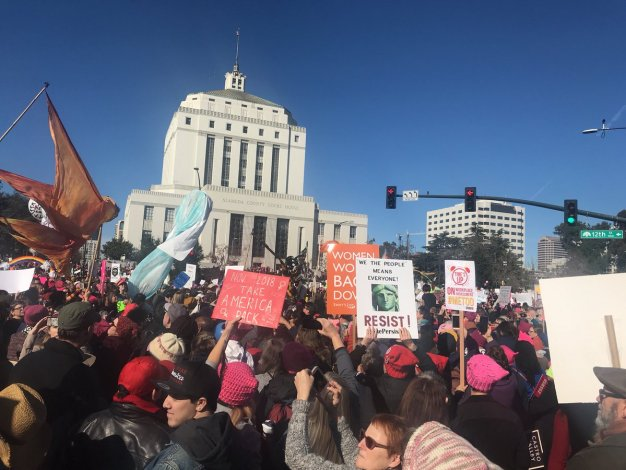 Signs at Women's Marches Across the Bay Area