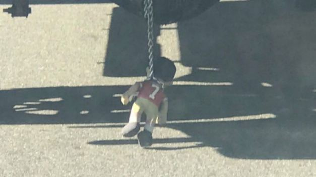 Kaepernick Doll Seen Chained to Truck in San Jose