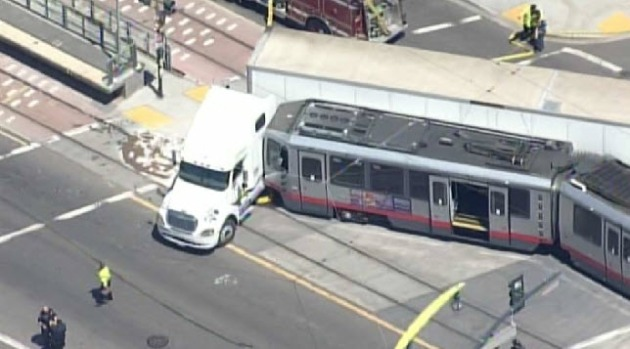 RAW VIDEO: Muni, Big-Rig Crash in San Francisco